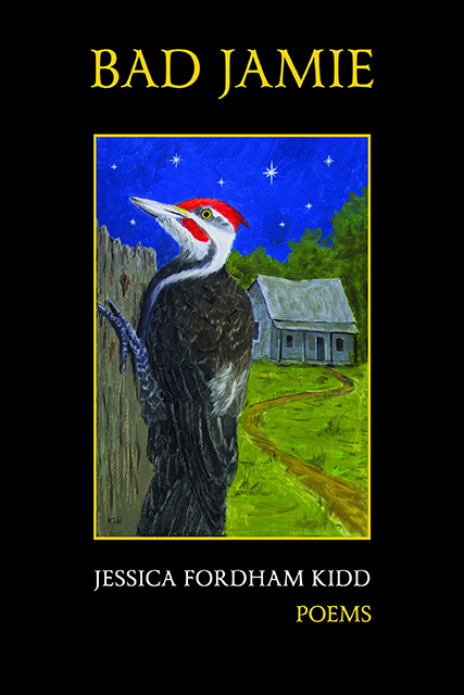 Book cover with painting of pileated woodpecker in foreground and an old house in the background